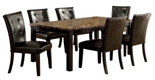Furniture of America Belleterre 7-Piece Dining Table Set with Faux Marble Top