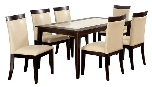 Furniture of America Vinia 7 Piece Dining Table Set with Faux Marble Top Espresso Finish