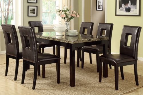 Poundex F2093 F1051 Faux Marble Top Brown Leatherette Chairs Dining Set