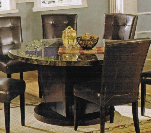 Round Dining Table with Marble Top in Espresso Finish