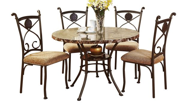 ACME 70555 Kleef 5-Piece Dining Set Faux Marble Top