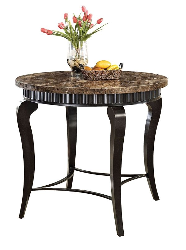 Acme 18290 Galiana Marble Top Counter Height Table Brown
