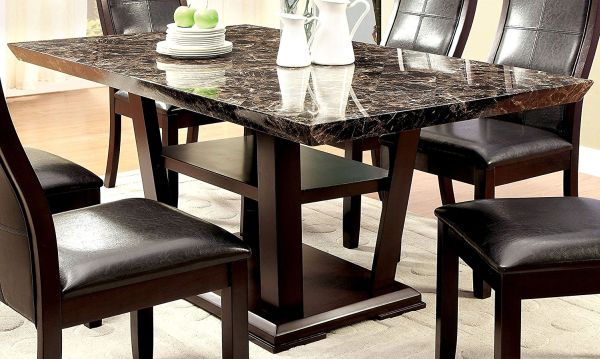Furniture of America Alfaro Faux Top Modern Marble Dining Table