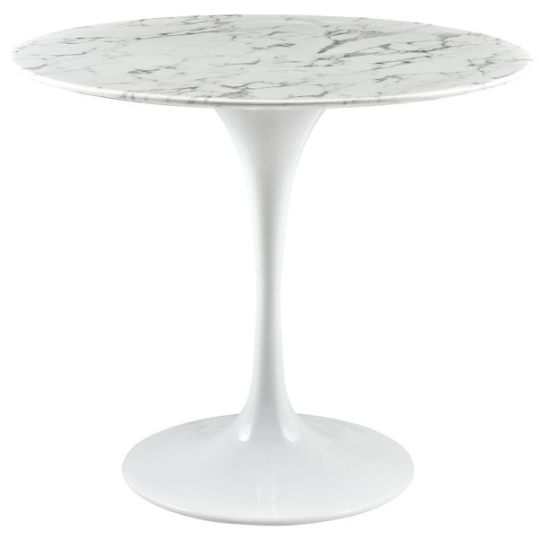 LexMod Lippa 36 inch Artificial White Marble Dining Table