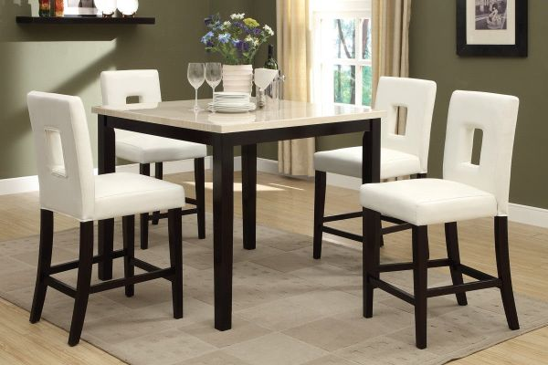 Poundex F2338 and F1322 Faux Marble Top with White Leatherette Stools Counter Dining Set