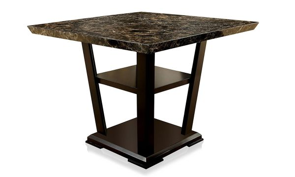 Furniture of America Alfaro Modern Faux Marble-Top Pub Dining Table