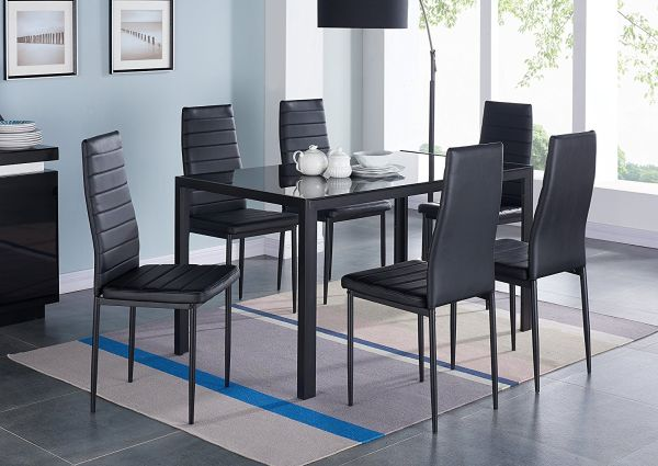 IDS Home 7 Piece Glass Dining Table and Chair Set for 6 Kitchen Dining Room Furniture Rust Resistant Metal Leg Frame Black