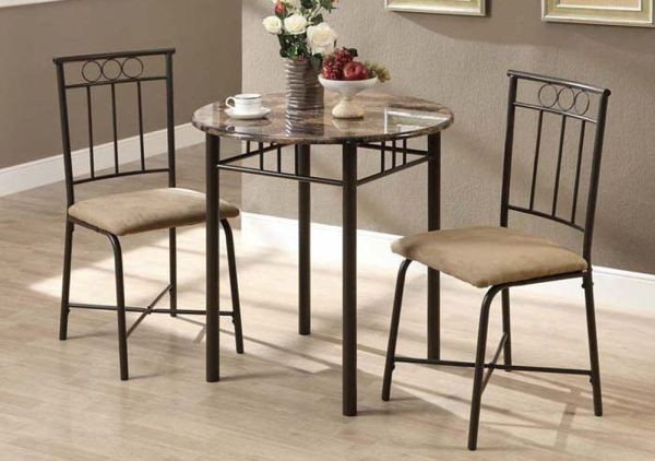 Monarch Specialties Bronze Metal and Cappuccino Marble Bistro Dining Set, 3-Piece