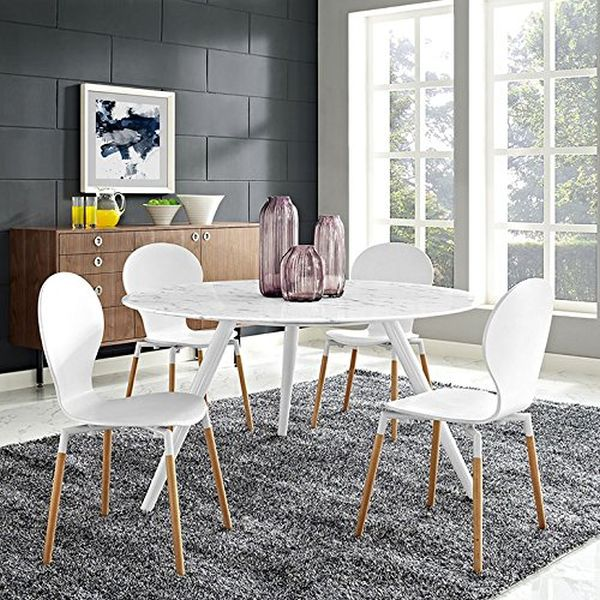 Modway Lippa 54 inch Wood Top Dining Table with Tripod Base White