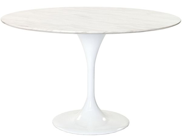 Modway 48 inch Eero Saarinen Style Tulip Dining Table with White Marble Top
