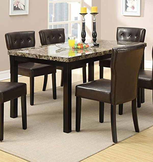 Faux Marble Top Dining Table by Poundex