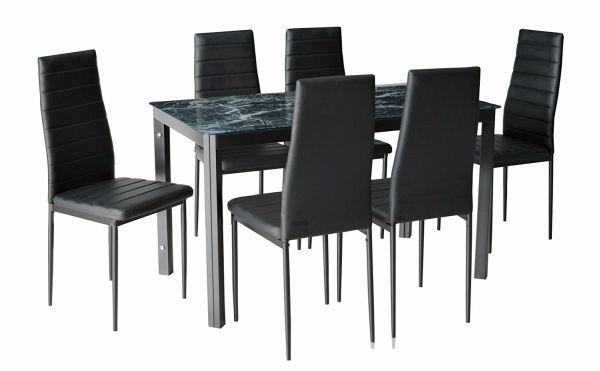 IDS Home 7 Piece Home Dining Kitchen Furniture Set with Faux Marble Glass Top Metal Leg and Frame Black