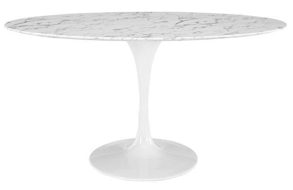 Modway Lippa 60 inch Oval-Shaped Artificial Marble Dining Table in White