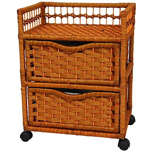 """Oriental Furniture 23"""" Natural Fiber Chest of Drawers on Wheels Honey"""