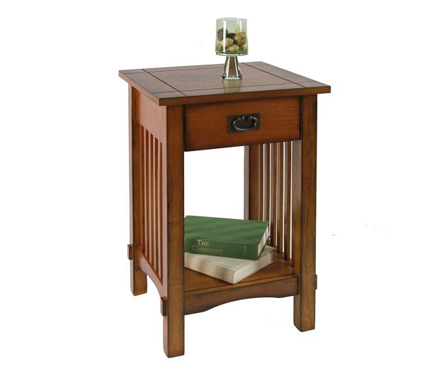 Furniture of America Liverpool 1-Drawer End Table Antique Oak Nightstand