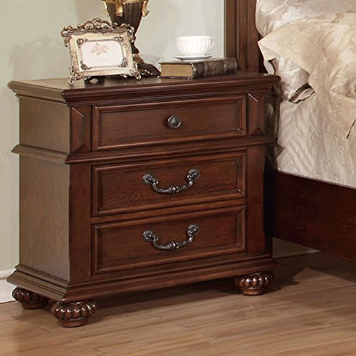 Landaluce Transitional Style Antique Dark Oak Nightstand Finish Bedroom