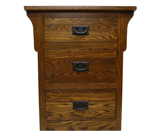 Forest Designs Arts and Crafts Oak Three Drawer Nightstand Honey Oak