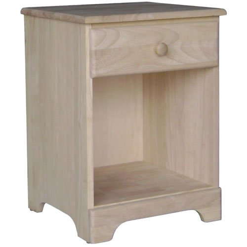 International Concepts BD-5001 Night Stand with One Drawer Unfinished