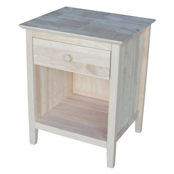 International Concepts Nightstand with 1 Drawer Unfinished