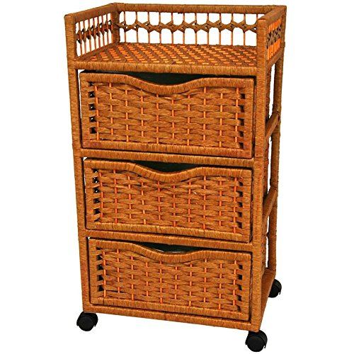 Oriental Furniture 31 inch Natural Fiber Chest of Drawers on Wheels Honey