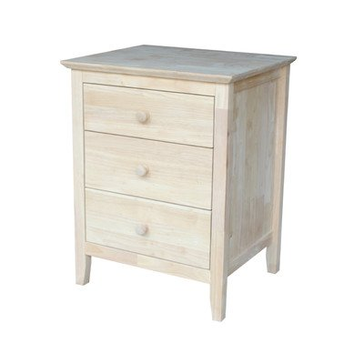 Sommerville 3 Drawer Solid Wood Nightstand Unfinished