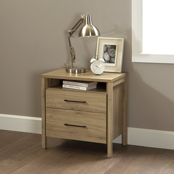 South Shore Gravity 2-Drawer Nightstand Rustic Oak