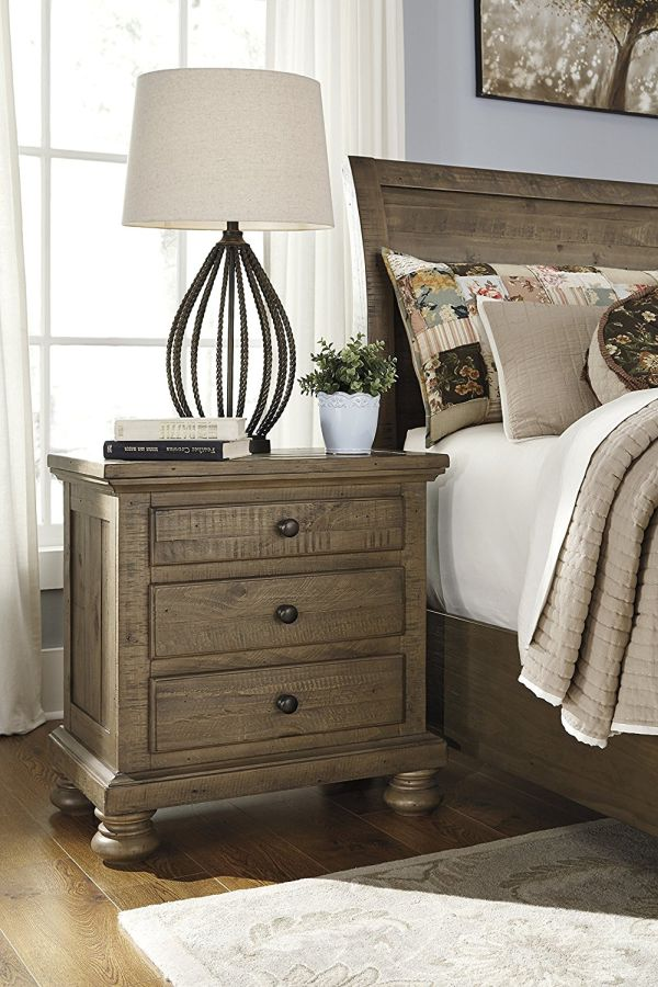 Treshley Casual Light Brown Color Three Drawer Night Stand