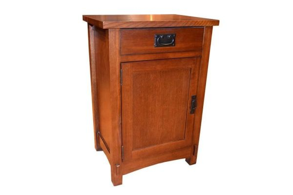 Crafters and Weavers Arts and Crafts Mission Style Oak Nightstand End Table - Bedside Table