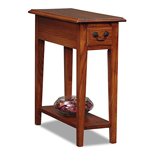 Country Style Narrow Nightstand Rectangle Wooden Medium Oak Chair Side Table with Storage Drawer Includes Modhaus Living Pen