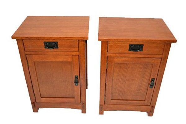 Crafters and Weavers Pair of Mission Nightstands Made of Solid Quarter Sawn Oak Nightstand End Table