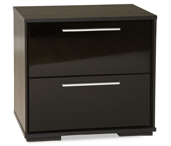 Black Oak Nightstand 2 Drawer