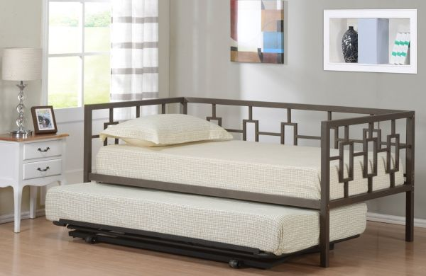 Brown Metal Twin Size Miami Day Bed Frame With Metal Slats and Pop Up Trundle