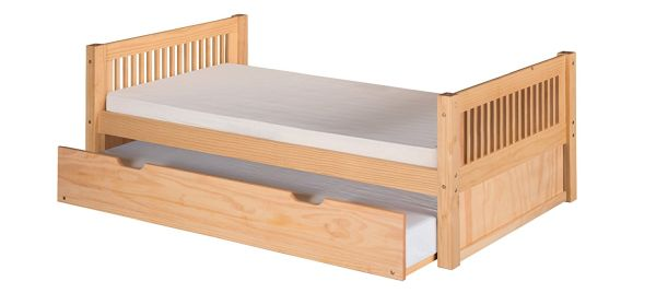 Camaflexi Mission Style Solid Wood Platform Bed with Trundle Twin Natural