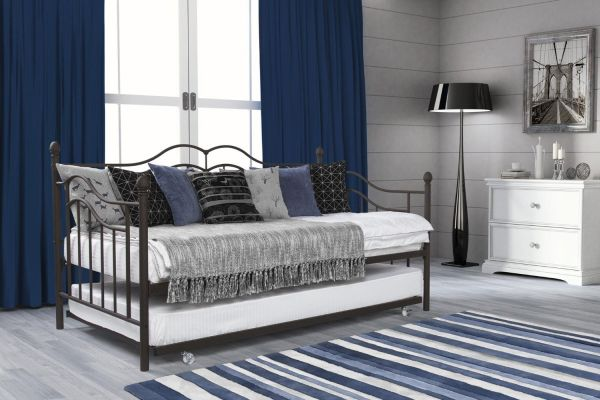 DHP The Tokyo Metal Daybed Frame with Trundle Twin Brown