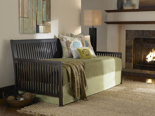 Wooden Trundle Bed Frame Daybed with Link Spring and Pop-Up Espresso Finish Twin