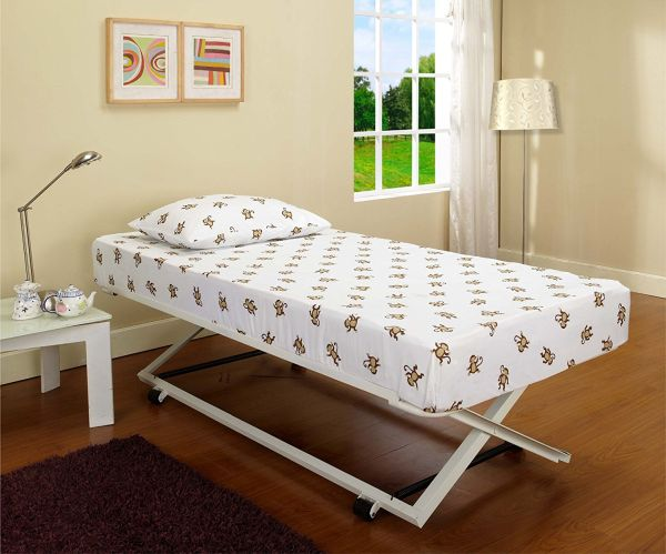 White Metal 39 inch Twin Size Pop Up Trundle For Daybeds