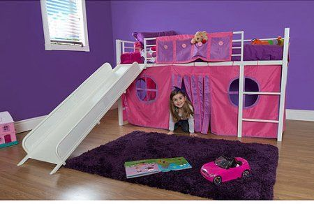 Eshion Girls Twin Bunk Loft Bed with Fun Slide and Princess Castle Curtain Set White Pink