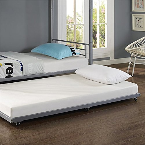 WE Furniture Silver Metal Roll-Out Twin Trundle Bed