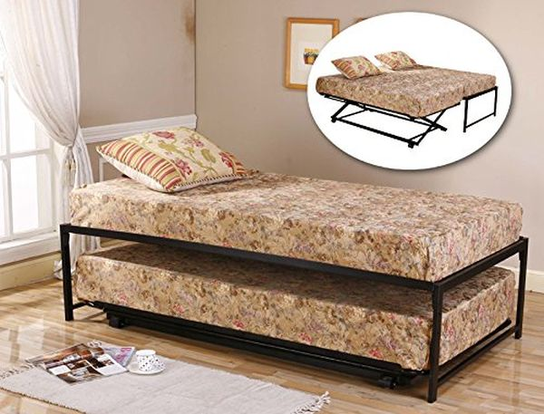 Twin Size Black Metal High Riseer Bed Frame With Pop Up Trundle