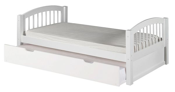 Camaflexi Arch Spindle Style Solid Wood Platform Bed with Trundle Twin White