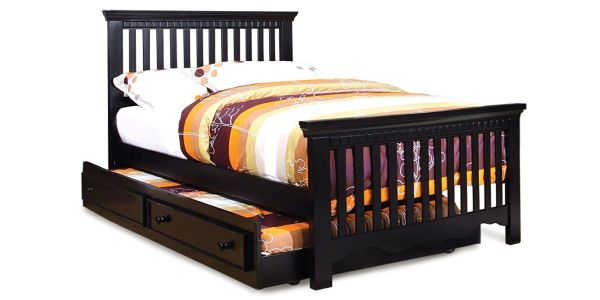 Furniture of America Elliot 2-Piece Cottage Style Twin Size Bed Frame with Trundle Black