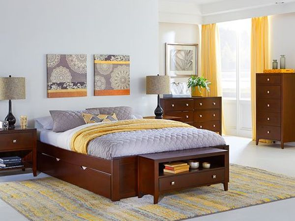 NE Kids Pulse Queen Platform Bed with Trundle in Cherry