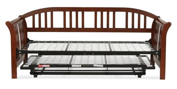 Salem Complete Wood Daybed with Link Spring and Trundle Bed Pop-Up Frame Mahogany Finish Twin