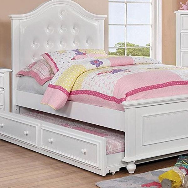 Walter Kids Leather Platform Twin Bed - White Wood