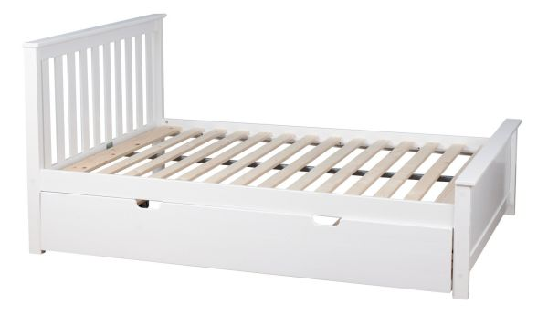 Max and Lily Solid Wood Full-Size Bed with Trundle Bed White