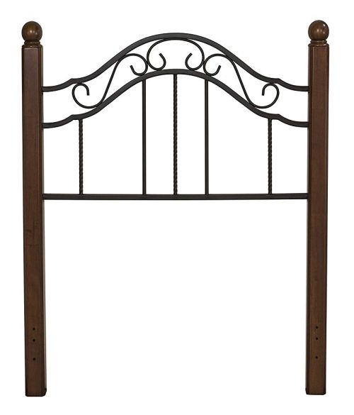 wood and wrought iron headboard