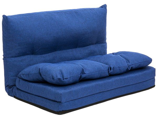 Best Choice Products Fabric Folding Chaise Lounge Sofa Video Gaming Chair Floor Couch Blue