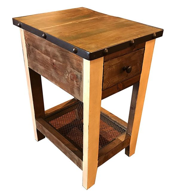 Crafters and Weavers Rustic Solid Wood Side Table with Drawer End Table Nightstand