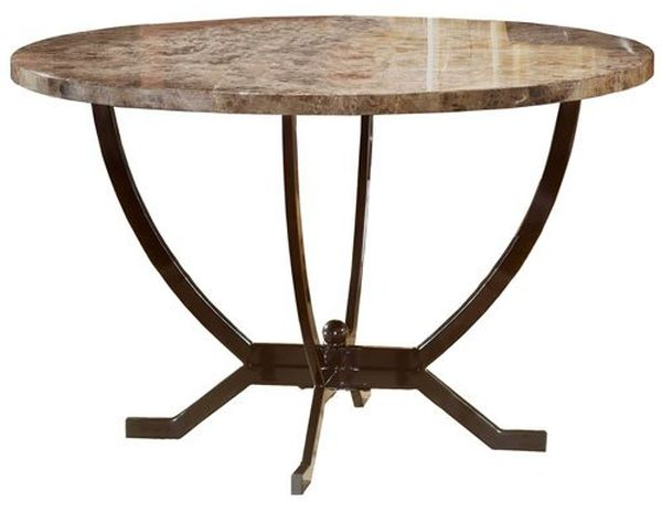 Hillsdale Monaco Round Faux Marble Top Dining Table with 48-Inch Diameter, Matte Espresso