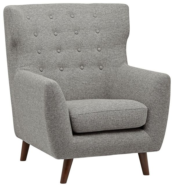 Rivet Hawthorne Mid-Century Tufted Modern Accent Chair, Silver